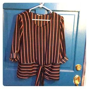 Navy, Red & White Striped Front Tie Blouse